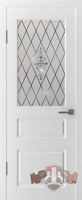 Дверь межкомнатная со стеклом. Шпон. Белая эмаль