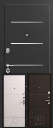 Дверь входная Легион с вставками из нержавейки и скрытыми петлями