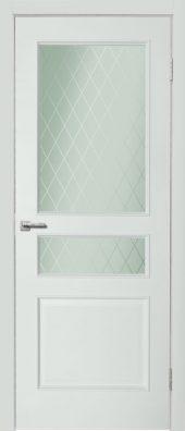 Дверь Дера шпон. Нордика 1158 ГР. Белая эмаль, стекло.