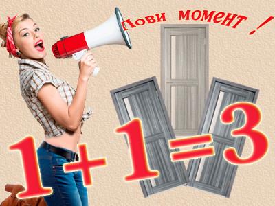 Лови момент! 1+1=3. Купи 2 двери и получи третью дверь в подарок!