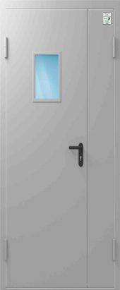 Дверь противопожарная со стеклом ДПД EIS30 Двупольная 1350/2050