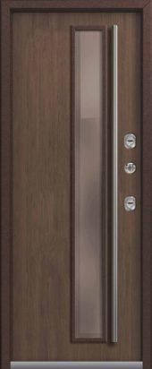 Входная дверь с остеклением, премиум Т-4, миндаль