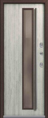Входная дверь с остеклением, премиум Т-4, полярный дуб