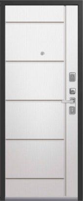 Входная дверь с молдингом Lux-2 софт ясень белый
