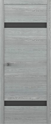Дверь межкомнатная Статус S скальный дуб черное стекло