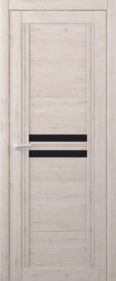 Дверь межкомнатная Вест Каролина крем черное стекло