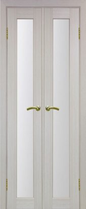 Межкомнатная дверь парма 401 стекло беленый дуб двухстворчатая