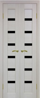 Двухстворчатая дверь Парма 407 черное стекло