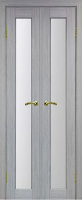 Межкомнатная дверь парма 401 стекло дуб грей двухстворчатая