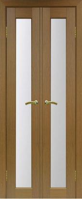 Межкомнатная дверь парма 401 стекло орех двухстворчатая